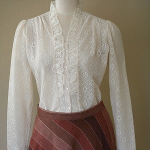 Vintage Victorian Style Lace Ruffled Blouse